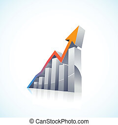 막대 그래프, 벡터, 3차원, 시장, 주식