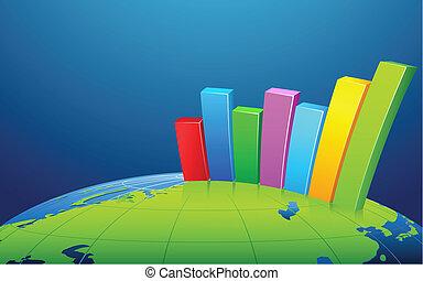막대 그래프, 통하고 있는, 지구