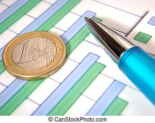 막대 그림표, 펜, 유러, 동전