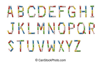 만든, 다채로운, clothespin, 멍청한, 알파벳, 영어