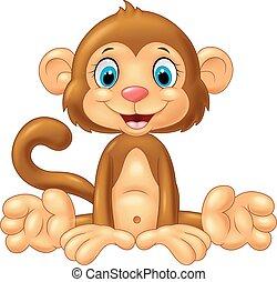 만화, 귀여운, 원숭이, 착석