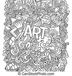 만화, 귀여운, doodles, 손, 그어진, illustration.