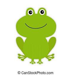 만화, 녹색, 귀여운, frog.