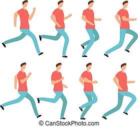 만화, 달리기, 남자, 에서, 무심결의, clothes., 나이 적은 편의, 남성, jogging., 생기, 구조, 순서, 고립된, 벡터, 세트