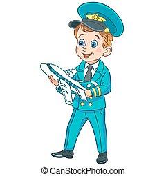 만화, 비행기 조종사, 와, 장난감 비행기