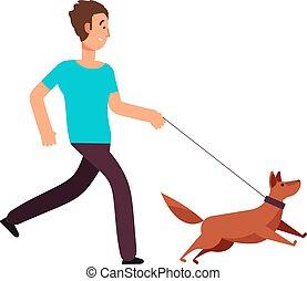 만화, 사람 달리기, 와, dog., 건강한 생활양식, 벡터, 개념