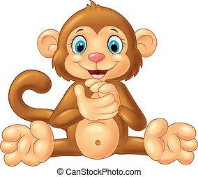 만화, 원숭이, 박수하는, 손