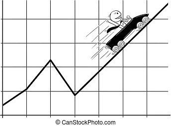 만화, 의, 실업가, 안으로 이동하는, 롤러코스터, fast, 높은, 또는, 위로의, 통하고 있는, 그만큼, 사업, 도표, 또는, 그래프