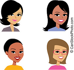 만화, avatar, 초상화 삽화, 여자