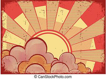 만화, grunge, 배경, 와, 햇빛, 통하고 있는, grunge, 직물