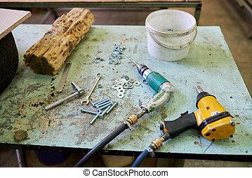 많은, 도구, 통하고 있는, 그만큼, 테이블.