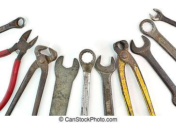 많은, 사용된다, 도구, 백색 위에서, 배경