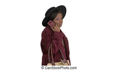 말하는 것, african, 백색, 배경., 전화, 검정, 걷고 있는 동안, 미국 영어, 상의, 모자, 소녀...