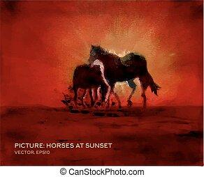 말, 기름, 형태, 벡터, 비단, 그림, 일몰