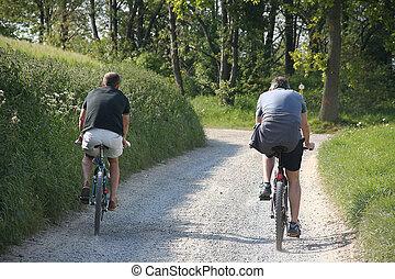 말 등 따위에 타기, mountainbike