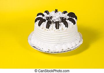 맛좋은, 크림 모양의, 생일 케이크