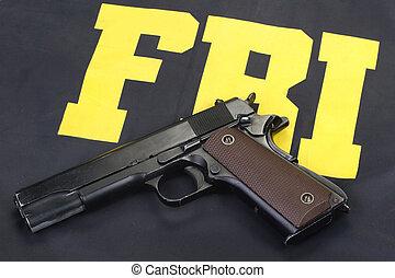 망아지, 정부, m1911, 권총, 통하고 있는, fbi, 제복