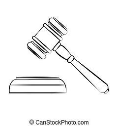 망치, 벡터, 법정, 윤곽, 삽화