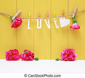 매다는 데 쓰는, 사랑, 편지, 와, 카네이션, 꽃