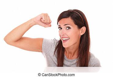 매력적인, 여자, 와, 승리를 얻게 하는, 표시, 미소