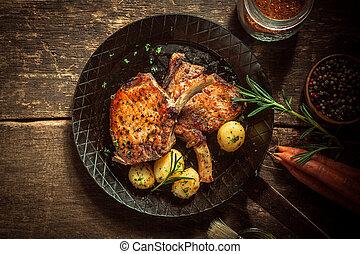 매리네이드 절임이 되는, 미식가, 포크, 식사, 얇게 저민 고기