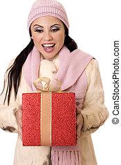 매우 기쁜, 놀람, -, 여성, 보유, a, 큰, 빨강, 와..., 금, 선물
