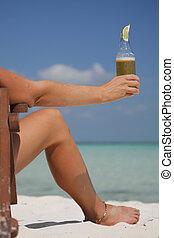 맥주, 와..., 다리, 바닷가에
