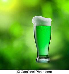 맥주, 제자리표, 희미해지는, 배경., 유리, 녹색