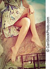 맨발로, 여자, 다리