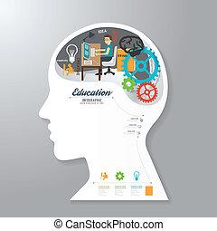 머리, 개념, 종이, vect, infographic, 본뜨는 공구, 기치, 생각하다