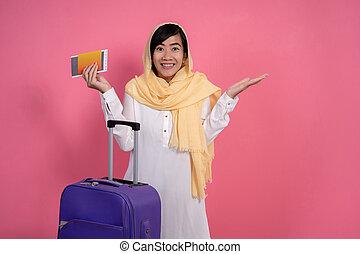머리, 여자, 이슬람교도의, 미소, 흥분한다, 스카프