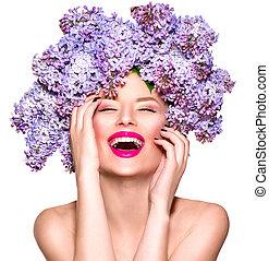 머리 형, 유행, 아름다움, 라일락, 모델, 꽃, 소녀