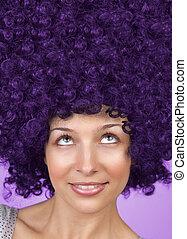 머리, 혼자서 젓는 길쭉한 보트, 여자, 즐거운, coiffure