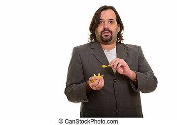 먹다, 지방, 실업가, 한 입 가득, 칩, 코카서스 사람