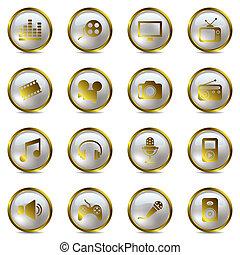 멀티미디어, 금, 아이콘, 세트