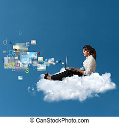 멀티미디어, 통하고 있는, 노트북