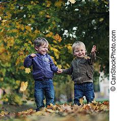 멋진, 재미, 에서, 가을, 공원