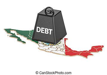 멕시코 인, 한 나라를 상징하는, 빚, 또는, 예산, 적자, 재정, 위기, 개념, 3차원, 지방의 정제