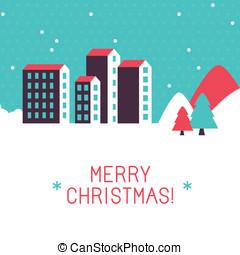 명랑한, 벡터, 크리스마스 카드, 인사