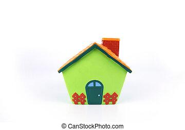 모델, 집, 고립된, 백색 위에서, 배경.