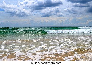 모래의, 해변., 극적인, cloudscape, 와, 호우, 와..., 열대 폭풍우, 에, 그만큼, 수평선, 통하고 있는, 그만큼, 해안선, 의, sri, lanka.