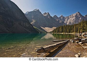 모레인 호수, -, banff국립 공원, -, alberta, -, 캐나다