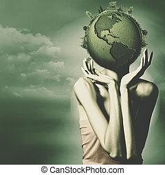 모아두다, 그만큼, earth., 떼어내다, 환경, 배경