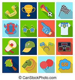 모자, 득점판, 휘파람, 와..., 다른, 은 부채로 부친다, equipment., 은 부채로 부친다, 세트, 수집, 아이콘, 에서, 바람 빠진 타이어, 스타일, 두값본, raster, 상징, 주식 일러스트, web.