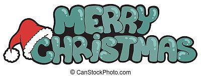모자, 크리스마스, 명랑한, 표시