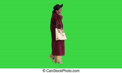 모자, african, 검정, 스크린, 소녀, 녹색, 미국 영어, 걷기, chroma, key., 상의, ...