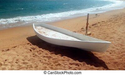 목선, 피트수, 명란한, 바람이 센, 4k, 바다, 백색 바닷가, 일, 있는 것, 어업