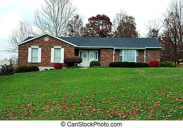 목장, 집, 에서, 가을