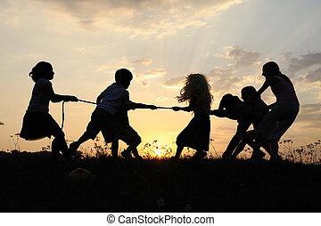 목초지, 그룹, 실루엣, 일몰, 하계, 노는 것, 아이들, 행복하다