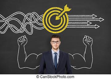 목표, 해결, 개념, 통하고 있는, 칠판, 배경